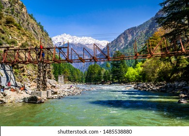 Kasol, Himachal Pradesh, India - March, 2017: View of Kasol river valley, It is a popular nature tourist destination in Himalayas of Himachal Pradesh.