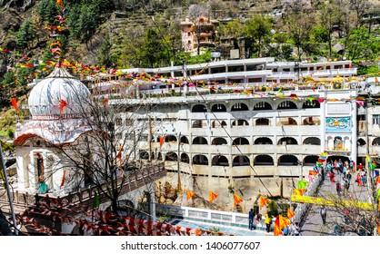 Kasol, Himachal Pradesh / India - May 20 2019: Sri Guru Nanak Dev Ji Gurudwara in Manikaran. It is the biggest Gurudwara in the state. Located on the banks of Parvati river.
