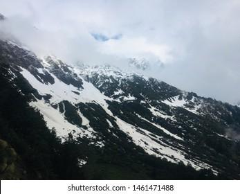 KASOL, HIMACHAL PRADESH, INDIA MAY 2019 fresh snow on mountain