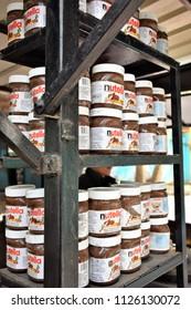 Kasol, HP/ India-March 2017: Nutella (sweetened hazelnut cocoa spreader) in Local Shop KASOL, Himachal Pradesh