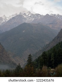 Kasol panoramic view of the snow capped  Himalayas mountains