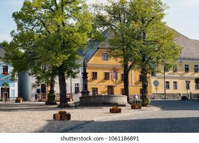 Kasperske Hory city town place square street in summer in Sumava, Czech republic