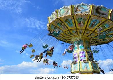 Kassel, Germany - 07.30.2016: Carousel in the park of Kassel