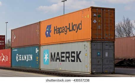 Kassel, Germany - April 11, 2016: Different Shipping Containers are placed at the Container Terminal Kassel.