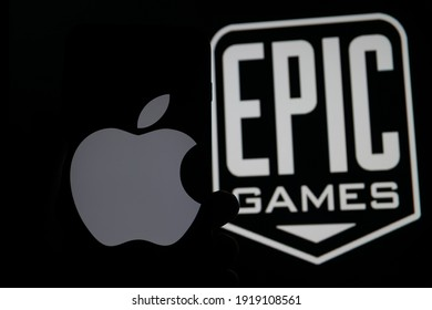 Kassel Germany - February 17,2021: Epic Games already sued Apple in the United States then, but now it has just done so before the European Commission as well.
