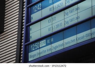 Kassel, Germany- February 9, 2021: display board delayed trains in germany