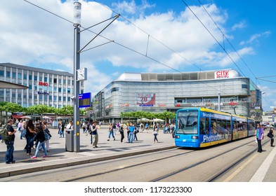KASSEL, GERMANY - JUNE 7, 2011: View of traffic and everyday life on the Koenigsplatz square