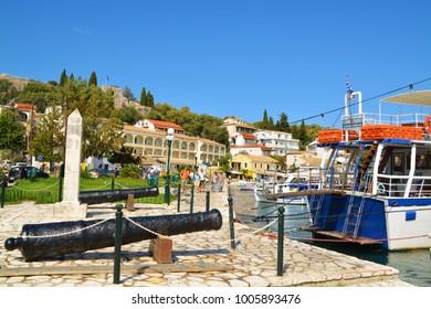 KASSIOPI, CORFU, GREECE. SEPTEMBER 17, 2017, Scenery at picturesque village of Kassiopi, Corfu island, greece