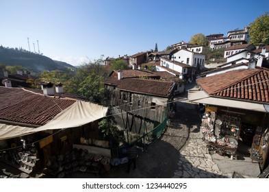 Kastamonu, Safranbolu / Turkey - November - 14 - 2015: Top view of a Safranbolu street by copper shops and houses
