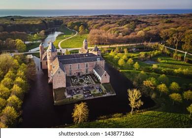 Kasteel (Castle) Westhove - aerial view, Domburg, Zeeland, Netherlands