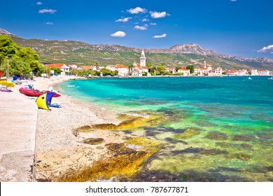 Kastel Stafilic landmarks and turquoise beach view, Split region of Dalmatia, Croatia