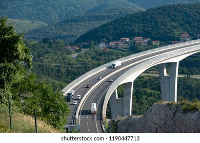 Kastelec, Slovenia, 11.09.2018. In an elegant curve the bridge of highway A1 in Slovenia swings in Kastelec towards the coast