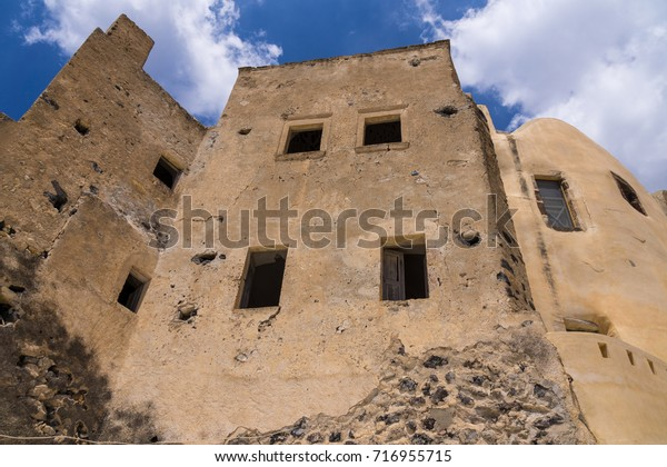 Kasteli Castle Pyrgos Emporio Santorini Greece Stock Photo