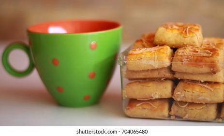 Kastengel or Dutch Indonesian cheese stick cookies.