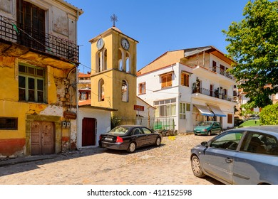 KASTORIA, GREECE - APR 21, 2016: Architecture of Kastoria, West Macedonia, Greece.  The town is known for its many Byzantine churches, Ottoman-era architecture