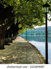 Kastoria, Greece / April 2018: A Sunday stroll at Kastoria in Greece