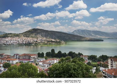 Kastoria, Greece - August 26, 2014. Panoramic view of the town of Kastoria and lake Orestiada in northern Greece.
