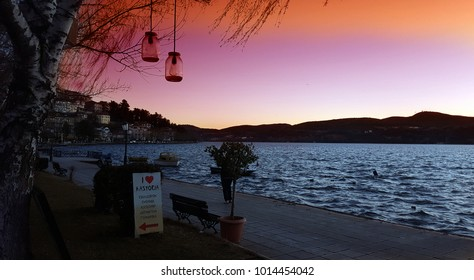 KASTORIA, GREECE- January 18, 2018. Beautiful view of Kastoria town and the famous Orestiada lake after sunset in Greece