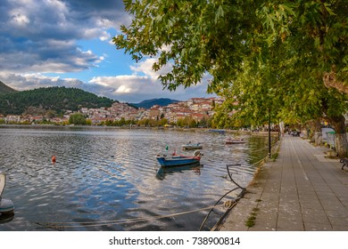 KASTORIA - GREECE, OCTOBER 2017: Scenic view of Kastoria town and the famous Orestiada lake in fall season