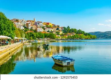 KASTORIA, GREECE, SEPTEMBER 10, 2017: People are walking on waterfront of Kastoria, Greece