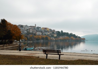 Kastoria lakefront a cloudy autumn day