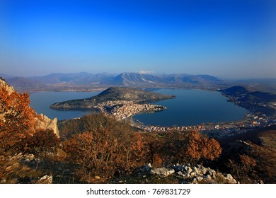 "KASTORIA TOWN, GREECE. Panoramic view of Kastoria town and Orestiada (or ""Orestias"") lake, Macedonia."