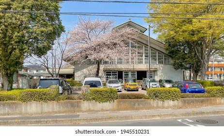 Kasukabe City, Saitama, Japan. March 27,  2021. The exterior view of Kasukabe Municipal Martial Arts Stadium (Kasukabe-shi Shiritsu Shimin Budoukan)  which host various forms of martial arts.