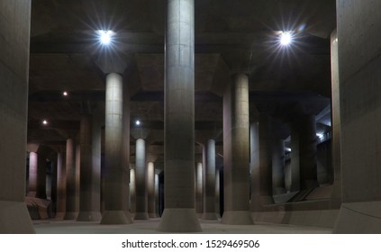"KASUKABE, SAITAMA, JAPAN - APRIL 19, 2019 : Metropolitan Area Outer Underground Discharge Channel 外郭放水路 also known as Ryukyukan or G-Can. The course tour of the 60 minutes of the ""underground temple."