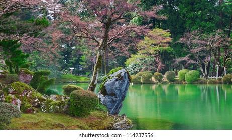 Kasumiga-ike Pond at Kenrokuen Garden in Kanazawa