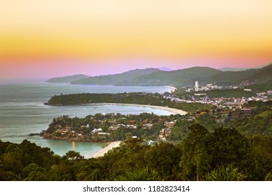 Kata, Karon and Patong beach, at sunset, Phuket, Thailand