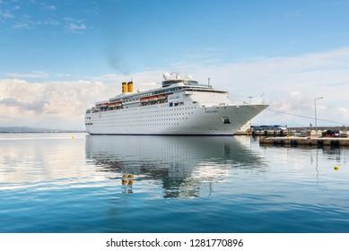 Katakolon, Greece - October 31, 2017: Costa neoClassica Cruise Ship moored in the port of the Katakolon (Olimpia), Greece.