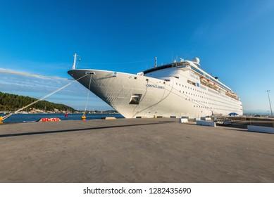 Katakolon, Greece - October 31, 2017: Wide-angle view of the Costa neoClassica Cruise Ship moored in the port of the Katakolon (Olimpia), Greece.