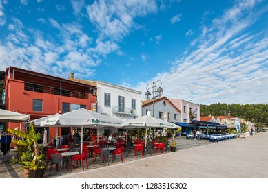 Katakolon, Greece - October 31, 2017: Shops and restaurants in the port of Katakolon on the Greek coast and serves as the gateway to Olympia, Greece.