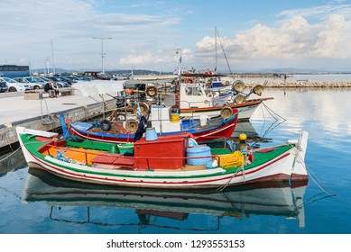 Katakolon, Greece - October 31, 2017: Fishing boats moored in the port of the Katakolon (Olimpia), Greece. Katakolon is a small port and beach town in western Greece, facing the Ionian Sea.