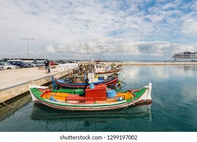 Katakolon, Greece - October 31, 2017: Fishing boats moored in the port of the Katakolon (Olimpia), Greece.