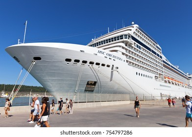 KATAKOLON (OLIMPIA), GREECE - October 04, 2016: Tourists leave the cruise liner MSC Orhestra at the port of Katakalon and go on an excursion to Olympia