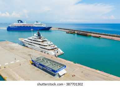 KATAKOLON (OLYMPIA), GREECE- JUNE10: Cruise ship and yacht docking at port of Katakolon. Many tourists visiting ruin of Olympia; the birth place of Olympic games, Greece on June 10, 2015.