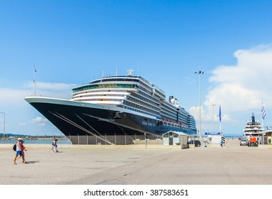 KATAKOLON (OLYMPIA), GREECE- JUNE10: MS Zuiderdam cruise ship docking at port of Katakolon, taking tourists visiting ruin of Olympia; the birth place of Olympic games, Greece on June 10, 2015.