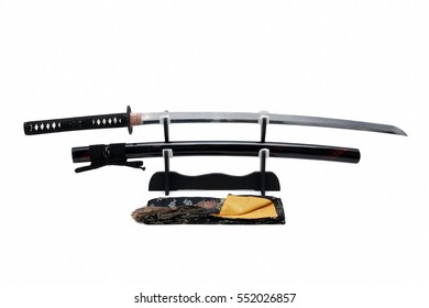 Katana Japanese sword on black stand
