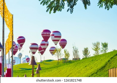 Katara Qatar decorated with helium balloon in the garden on 18 DEC 2018 for national day celebration