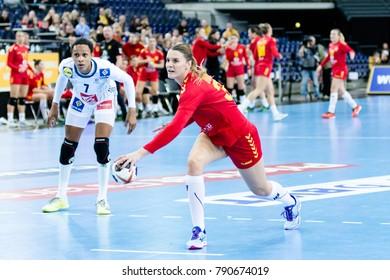 Katarina Bulatovic from Montenegro 7m throw during handball game between France vs Montenegro . Final score : 25 - 22 at IHF World Championship, Germany 2017 - Quarter Finals, Leipzig on 12.12.2017