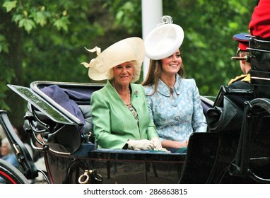 KATE MIDDLETON & CAMILLA PARKER BOWLES, ROYAL FAMILY LONDON, UK - JUNE 13 2015: Royal Family Camilla and Catherine (Kate) Middleton during Trooping the Colour ceremony, June 13, 2015 London, UK