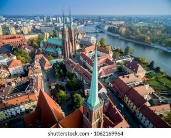 Katedra sw Jana Chrzciciela widok z powietrza st. John the Baptist cathedral Wroclaw