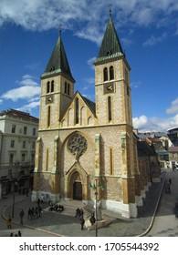 Katedrala Srca Isusova the main catholic church in the city center of Sarajevo, Bosnia - Shutterstock ID 1705544392