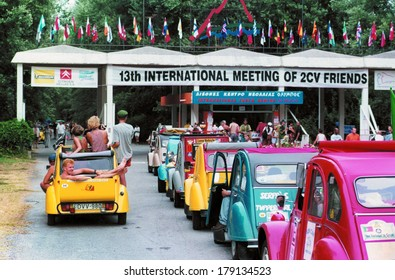 KATERINI GREECE JULY 1999.-1100 beautiful, vintage cars Citroen 2CV meet at the 13th international meeting of 2CV friends in the  youth center Olympos, in Skotina near Thessaloniki, July 25-31, 1999.