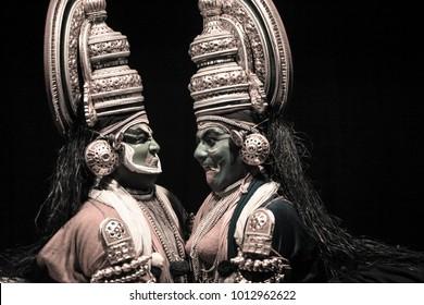 Kathakali artist amazing performance in Bengaluru,Karnataka,India on April 8,2017