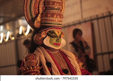 Kathakali artist green room in Bengaluru,Karnataka,India on January 6,2017