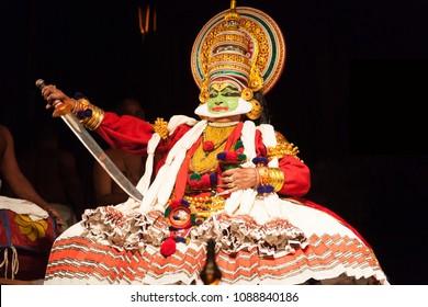 Kathakali artist Kalamandalam Gopi playing a proud king  in Bangalore,India on May 3,2018.