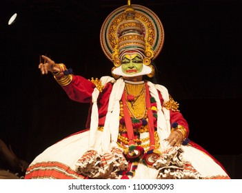 Kathakali artist pointing out his foe in performance on May 19,2018 in Bengaluru,India