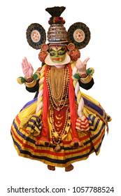 Kathakali, a dance form of Kerala, India. Isolated on white background.